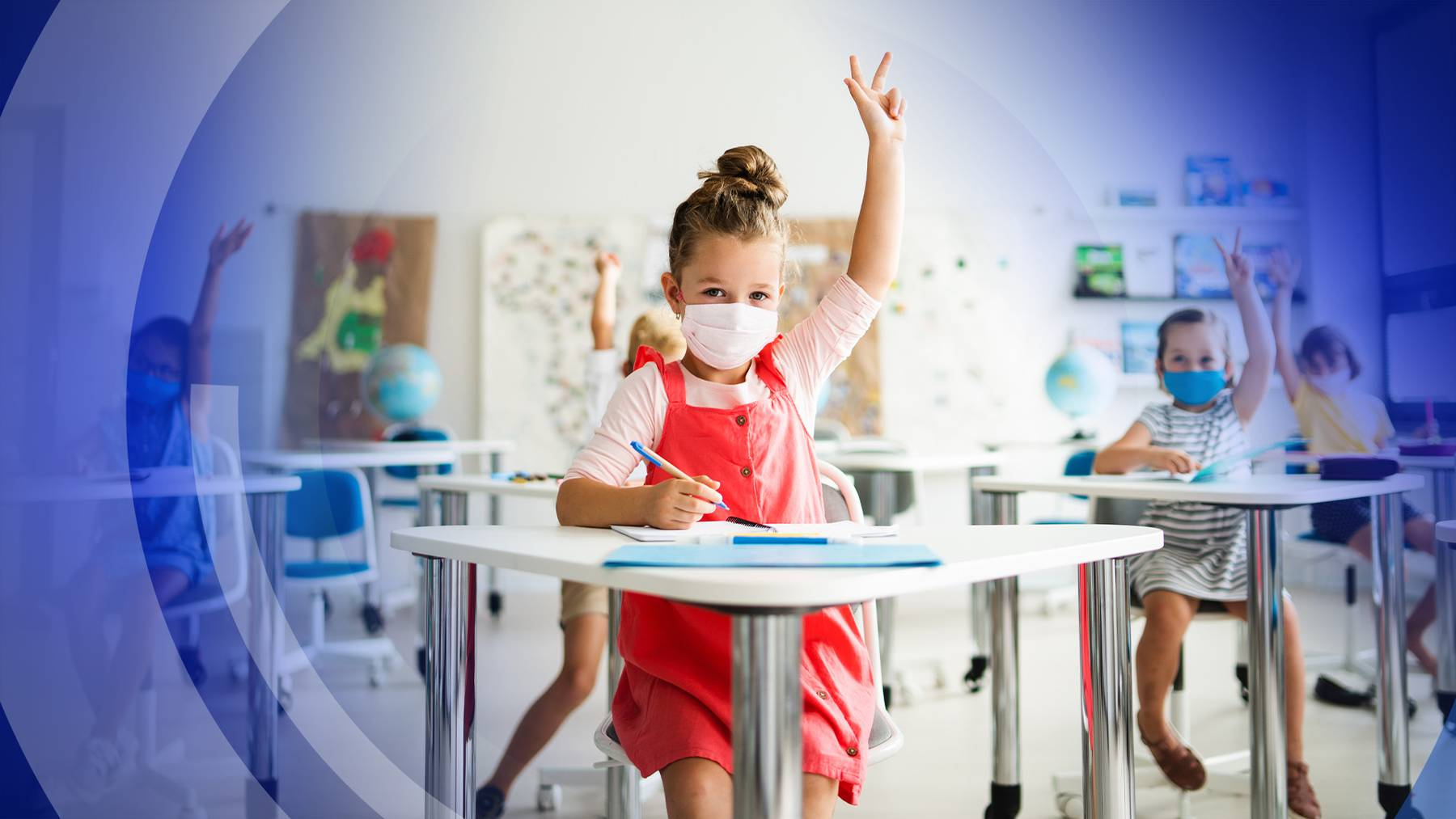 Schule-Kinder-Makske