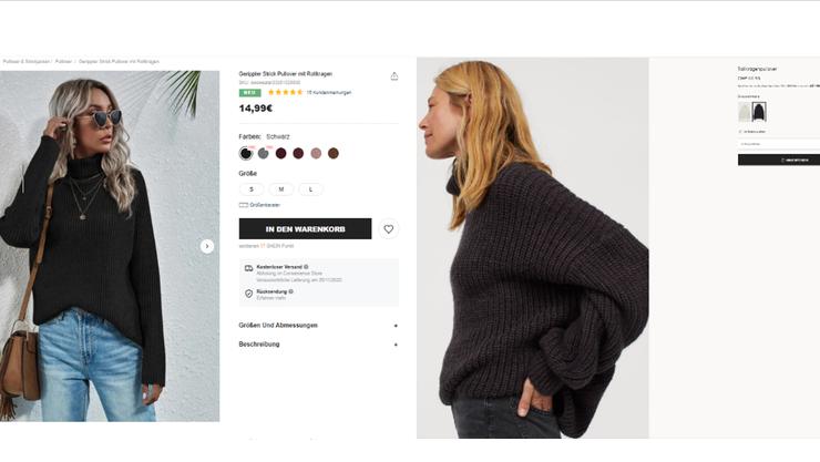 Während ein Rollkragenpulli bei Shein nur gerade 15 Franken kostet, muss man bei H&M für ein ähnliches Modell knapp 45 Franken bezahlen.