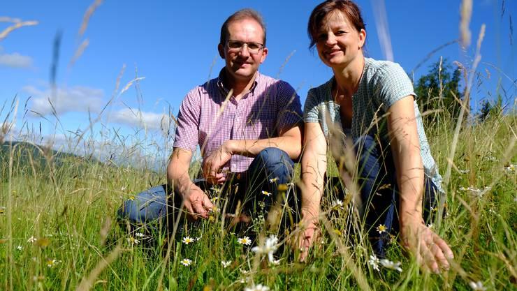 Auf dem gut nutzbaren Land produzieren Roland und Priska Wismer intensiv Nahrungsmittel, auf den steilen Flächen pflegen sie die Artenvielfalt.