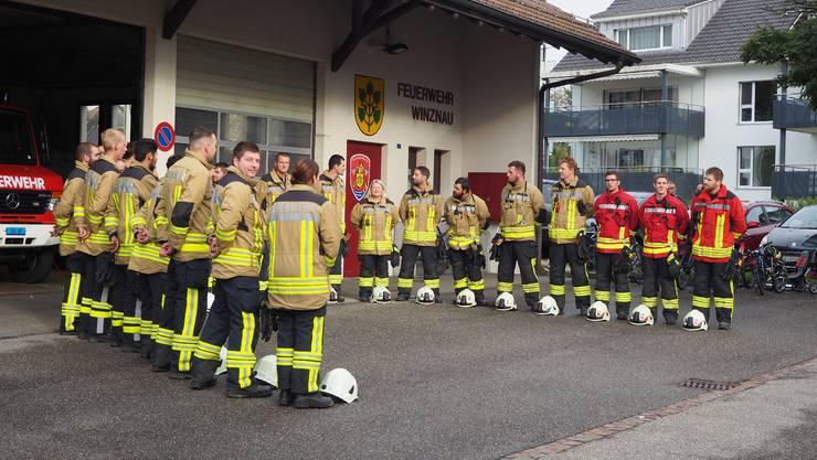 Die Mannschaft der Feuerwehr Winznau ist bereit für die Hauptübung 2019