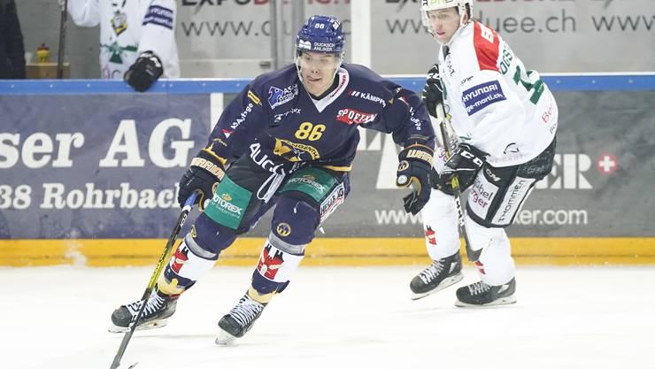 Kann Olten (Esbjörn Fogstad Vold (rechts) gegen Alain Bircher) die Serie noch wenden? Bild: Freshfocus
