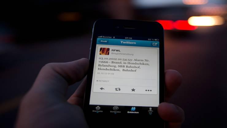 Diese Nachricht verschickte die Feuerwehr am Mittwoch über Twitter. Bild: Pascal Meier
