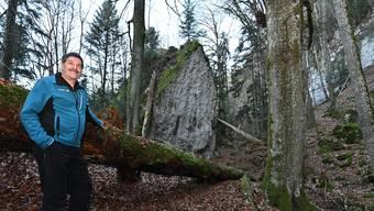 Urs Allemann in einem seiner Lieblingswälder.
