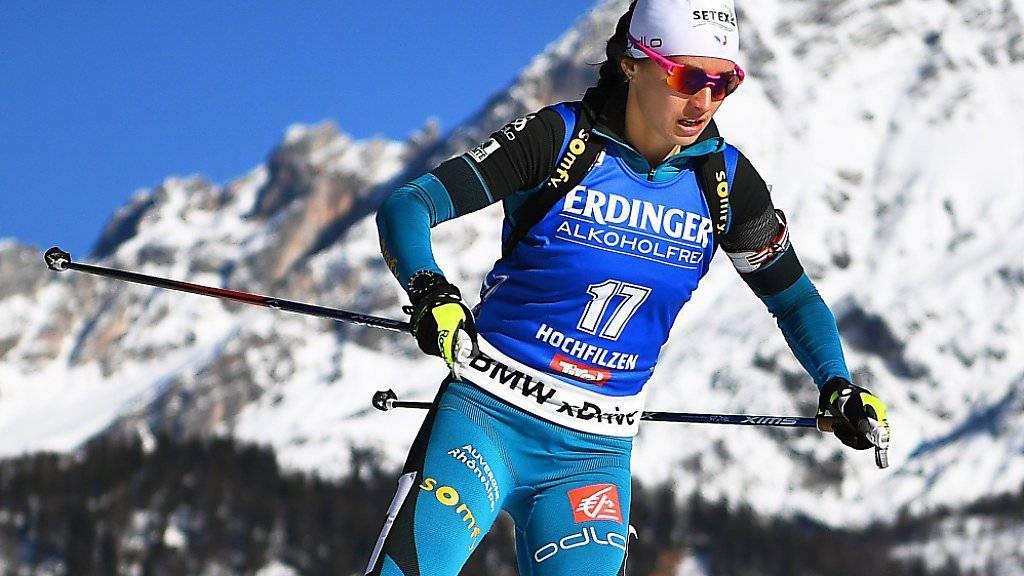 Anaïs Chevalier, hier unterwegs zur WM-Bronzemedaille im Biathlon-Sprint im Februar in Hochfilzen, bricht sich im Sommertraining auf dem Velo das Schlüsselbein