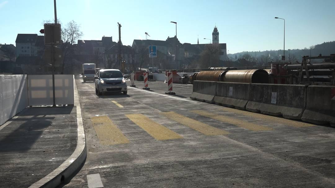 Aarau: Hier fahren die ersten Autos über die Hilfsbrücke – allerdings nur in eine Richtung