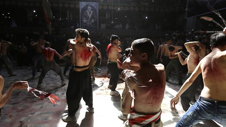 Aschura in Kabul: Schiitische Männer geisseln sich in der afghanischen Hauptstadt. (Aufnahme vom Sonntag)