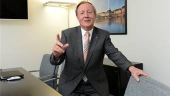 Wünscht sich für Basel ein Touristen-Bähnli: Der abtretende Präsident Hanspeter Weisshaupt im Büro von Basel Tourismus in der Aeschenvorstadt.