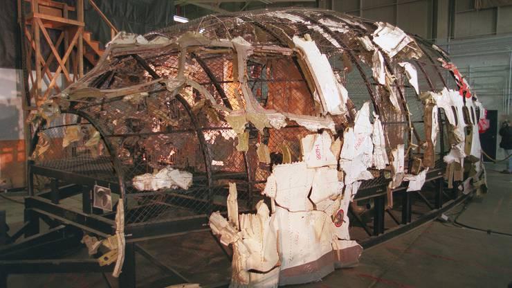 So sieht die rekonstruierte Swissair-Maschine aus. Viele Teile wurden nie gefunden.