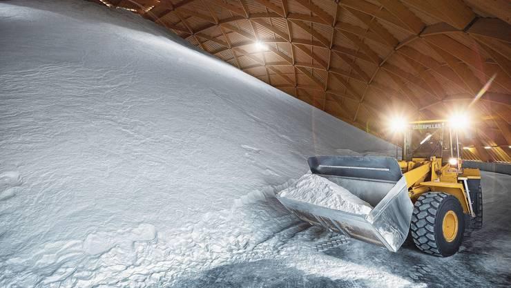 Das Salz wird in zwei riesigen Saldomen bei Möhlin gelagert.
