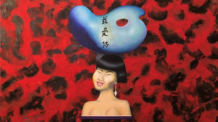 Im Grossformat «Denkmal für die unbekannte chinesische Künstlerin» von 2008 verquickt Alex Sadkowsky wilde Malerei und akribische Zeichnung.ho