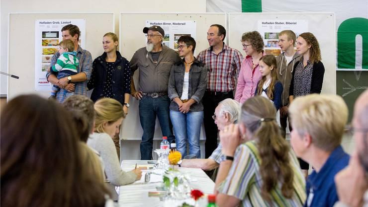 Die drei Gewinner des Solaprix: Die Hofläden der Höfe Grob aus Lostorf, Stuber aus Biberist und Birrer aus Niederwil.