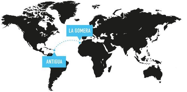 beginnt auf der kanarischen Insel La Gomera und führt 5000 Kiloemeter Richtung Westen auf die karibische Insel Antigua.