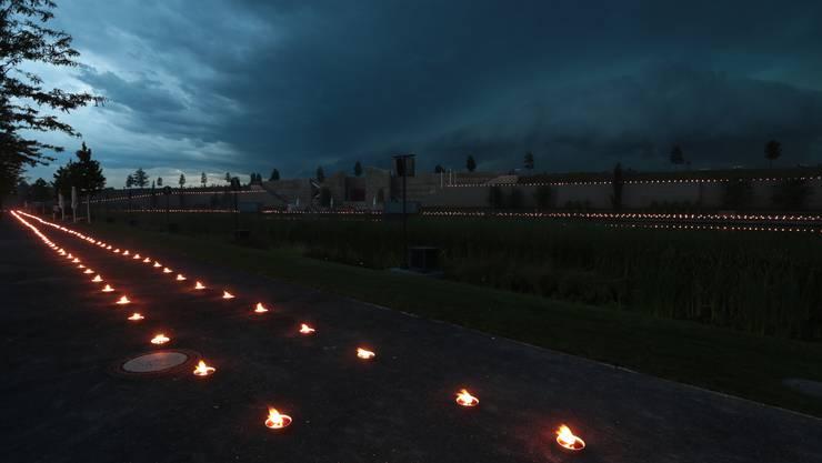 6500 Kerzen für die 6500 Toten der Bombardierung Heilbronns von 1944. Die Installation des Rüttener Künstlers Ulrich Studer erlangte einige Beachtung.