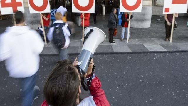 Kundgebung der Gewerkschaft Unia für einen Mindestlohn (Archiv)
