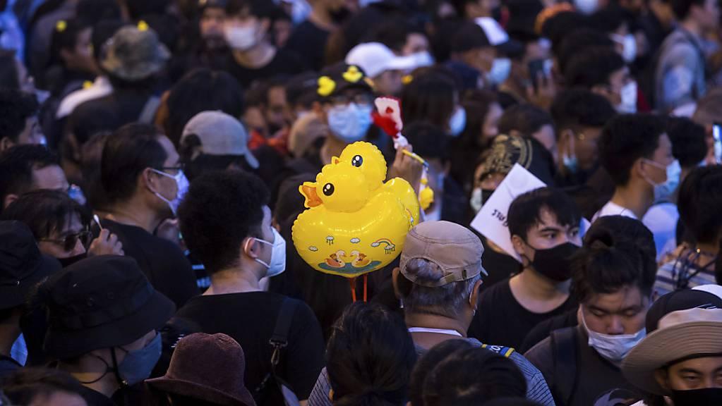 Während einer pro-demokratischen Demonstration in Bangkok, Thailand, trägt ein Protestteilnehmer Luftballons, die die Form einer Ente haben.