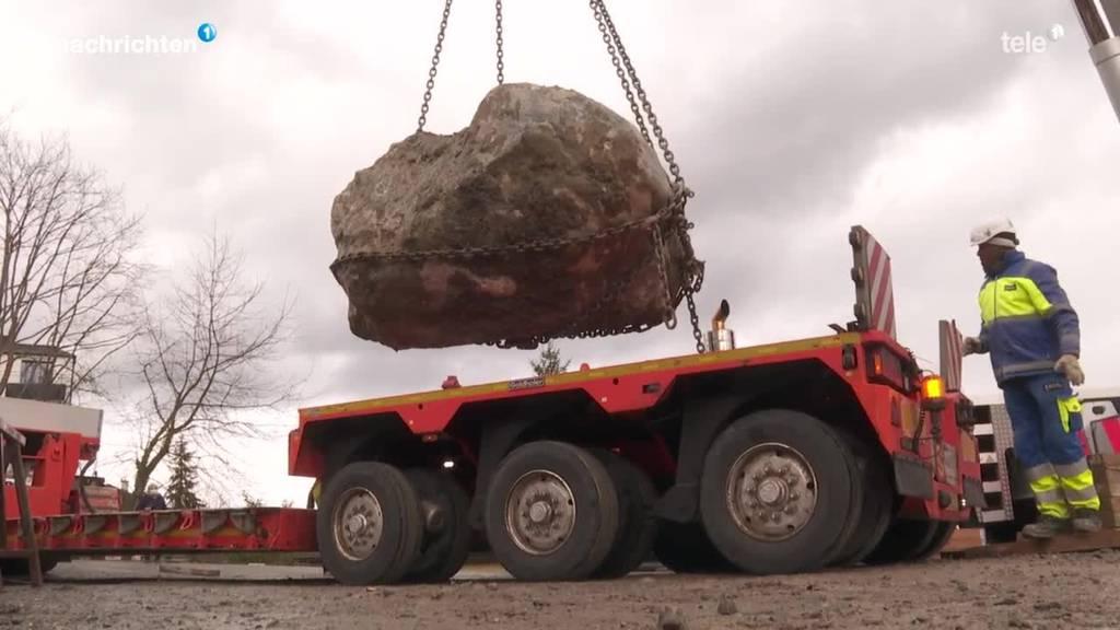 40 Millionen Jahre alter Findling kommt an neuen Ort