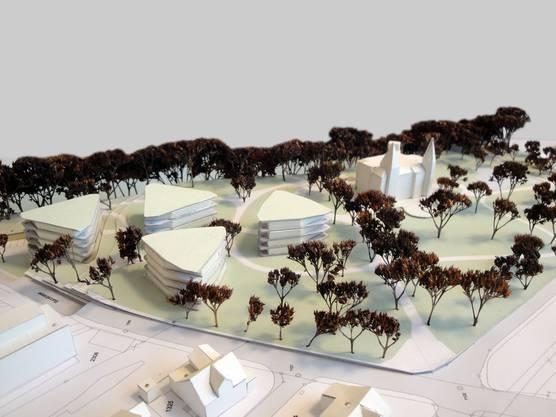 So soll die Überbauung im Schlosspark Bad Zurzach dereinst aussehen, welche die Antonie Deusser-Stiftung geplant hat.