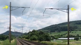 An der Bahn zwischen Zeiningen und Mumpf haben Diebe das Erdungskabel gekappt (Pfeil).BG (Kapo)