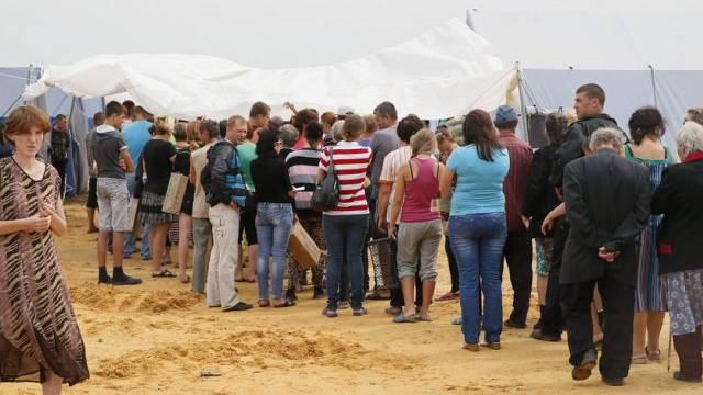 Ukrainische Flüchtlinge in einem Camp in Russland