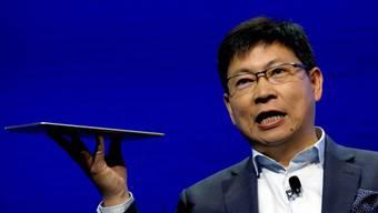 Der chinesische Elektronikkonzern Huawei meldete im vergangenen Jahr am meisten Patente an. Hier Konzernchef Richard Yu am Mobile World Congress (MWC) in Barcelona.