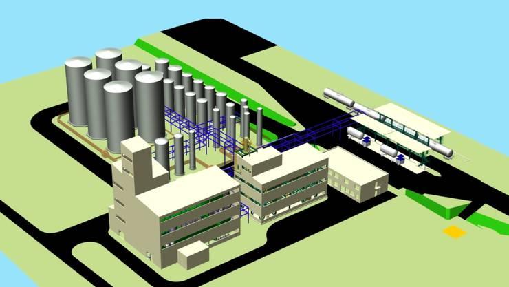 So soll die Biodiesel-Anlage auf dem Solvay-Areal dereinst aussehen.