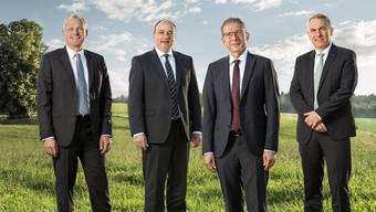 Stephan Attiger (links) und Markus Dieth (2.v.l.) leiten das Departement Gesundheit und Soziales ad interim. Ob einer von ihnen oder Landammann Urs Hofmann oder Bildungsdirektor Alex Hürzeler langfristig übernehmen wollen, ist offen.