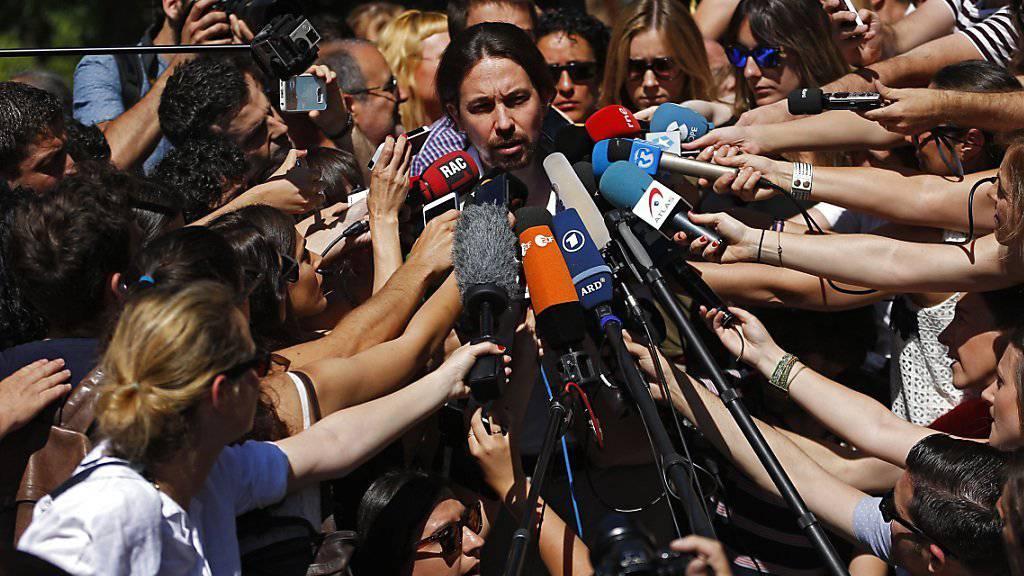 Podemos-Spitzenmann Pablo Iglesias geniesst bei den Medien viel Aufmerksamkeit