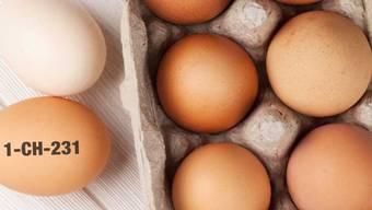 Die Migros warnt: Eier mit dem aufgedruckten Code 1-CH-231 sollten wegen Salmonellenverdachts nicht gegessen, sondern in eine Filiale zurückgebracht werden.