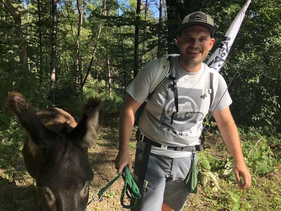 Happy Duo: Zwei glückliche Esel, stolz nach dem ersten Anstieg.