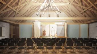 So soll der Saal im Dachgeschoss der Zehntenscheune dereinst aussehen: Die Dietiker sagen Ja zum Projekt.