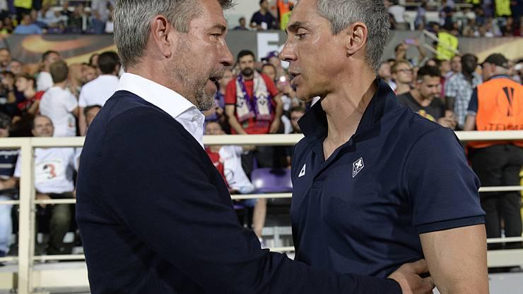 Paulo Sousa begrüsst vor dem Spiel seinen Nachfolger Urs Fischer.