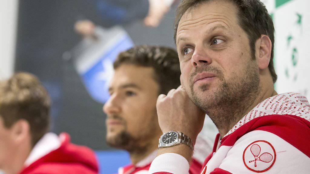 Auch bei Severin Lüthi sorgt der erste öffentliche Auftritt des Davis-Cup-Gegners in Biel für Verwunderung.
