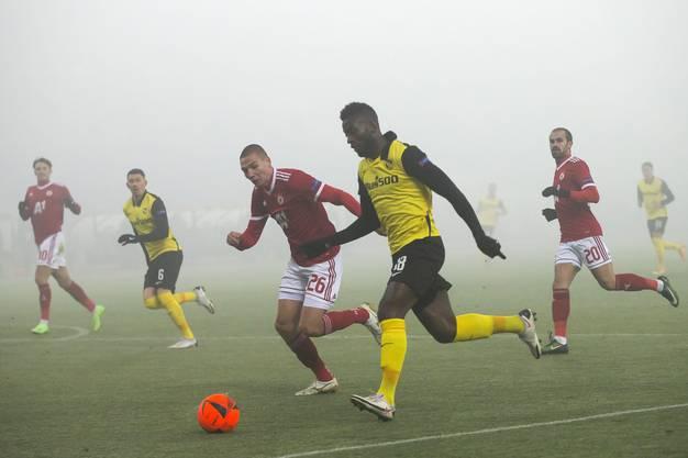 YB-Torschütze Jean-Pierre Nsame mit dem deutlich besser sichtbaren roten Ball.