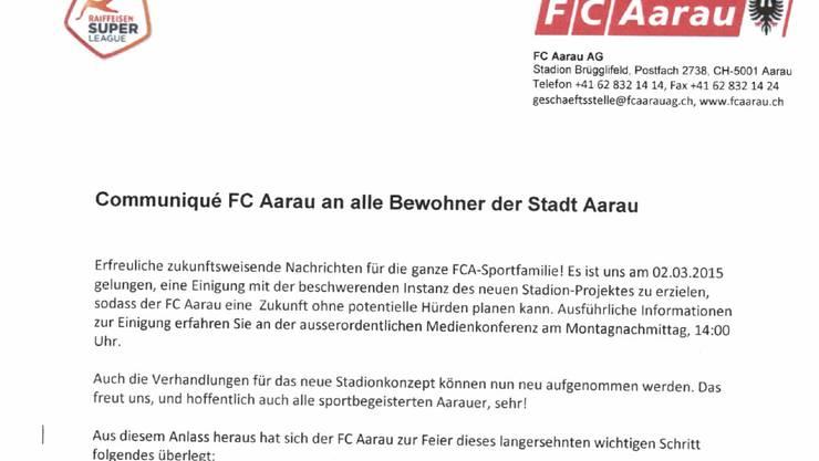 Das gefälschte Communiqué des FC Aarau