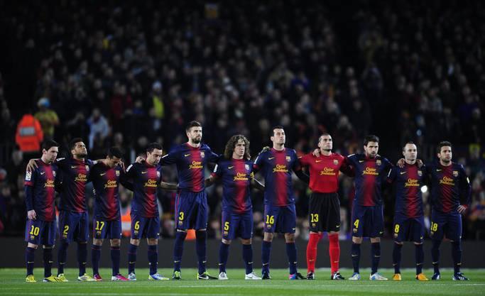Barcelonas Spieler konzentriert vor dem Cupknaller