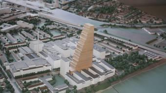 Entwurf: Der 175 Meter hohe Roche-Turm wäre im Stadtbild unübersehbar. (ydu)