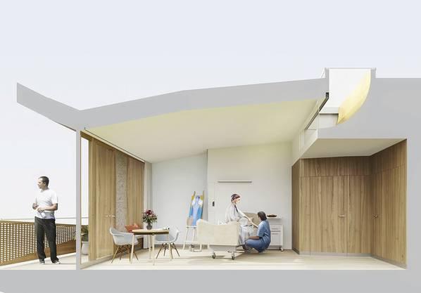 Alle 36 Zimmer im künftigen Bettenhaus haben eine gebogene Decke mit Oberlicht – das soll die Heilung fördern.