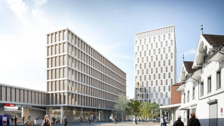 So sieht das vorliegende Projekt für einen neuen Liestaler Bahnhof aus: neben dem Bahnhofgebäude (nicht auf der Visualisierung) sind ein neues siebengeschossiges Bürogebäude (Mitte) und weiter hinten am Emma-Hervegh-Platz ein Hochhaus (rechts) geplant.