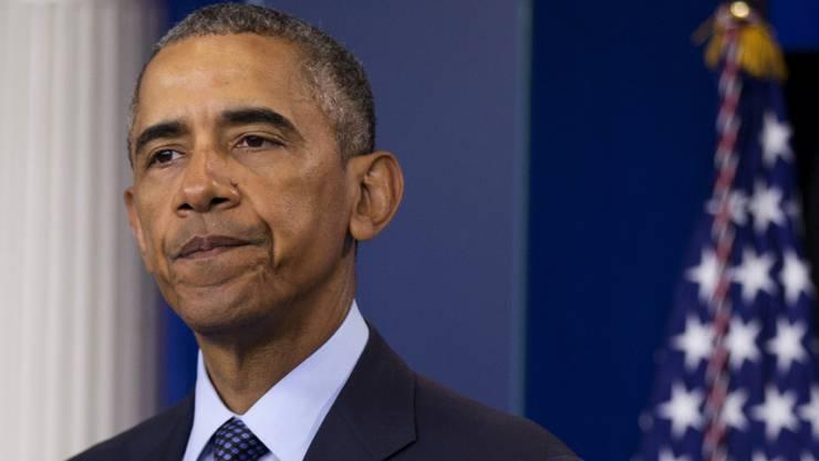 Sichtbar erschüttert sprach US-Präsident Barack Obama vor den Medien über die Bluttat von Orlando mit 50 Toten.