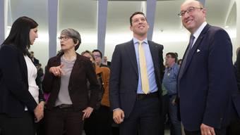 Eine Aufnahme vom ersten Wahlgang am 8. März. Von links nach rechts: Laura Bucher, die Grüne Rahel Würmli, die sich zurückgezogen hat, Michael Götte und Beat Tinner.