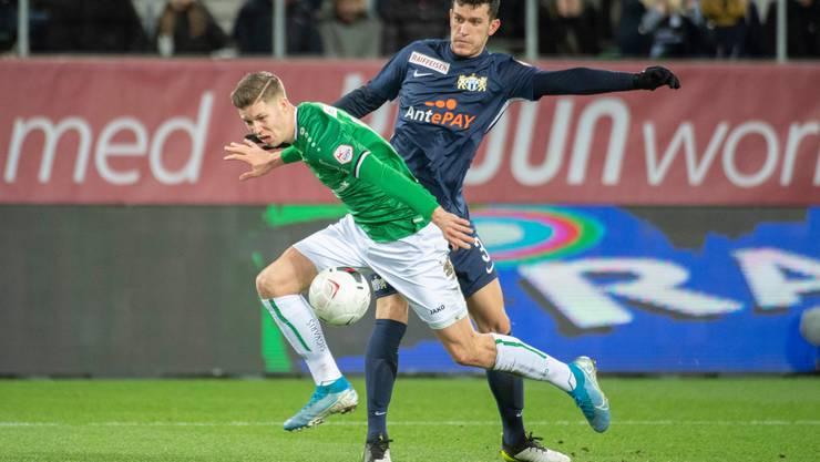 Einer der Aufsteiger der Saison: Cedric Itten (links) im Zweikampf im Zürichs Nathan.