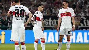 Die Stuttgarter - rechts Mario Gomez - waren im Hinspiel gegen Aussenseiter Union Berlin öfter ratlos