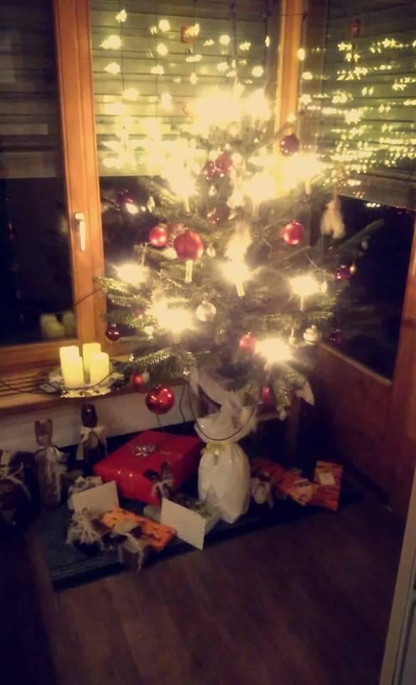 Klein aber mit vielen Kerzen, der Christbaum von Eveline