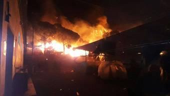 Brand in Flüchtlingslager auf der griechischen Insel Lesbos