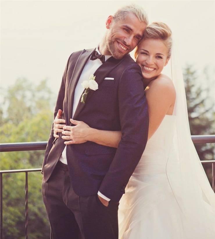 Glückliches Ehepaar: Fussballer Valon Behrami und Lara Gut-Behrami.
