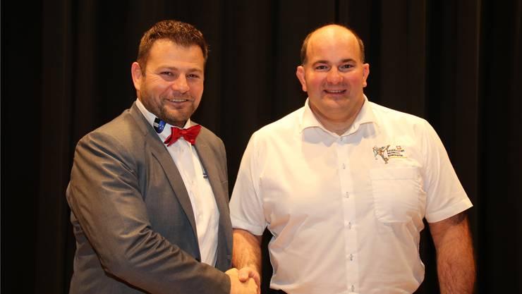 Verbandspräsident Markus Birchmeier (links) mit dem neu gewählten Technischen Leiter Nachwuchs Roger Schenk.