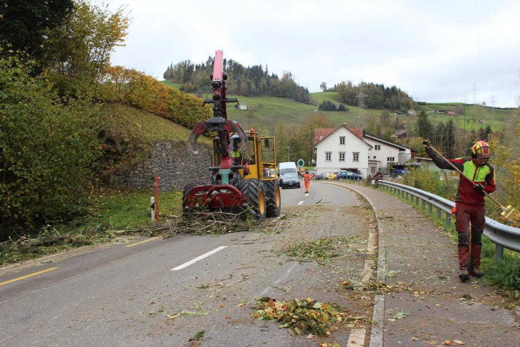 Eine Strasse in Niederteufen wird von Bäumen und Ästen befreit