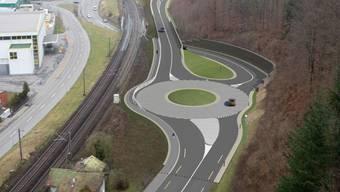 Brugg-West mit dem neuen Anschluss an den Westast der Umfahrung, von Schinznach-Bad herkommend
