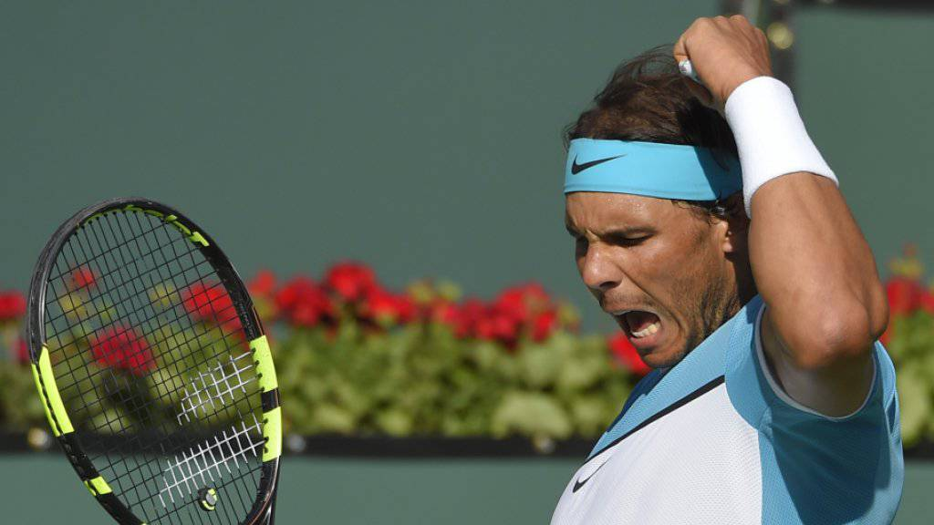 Grosser Jubel bei Rafael Nadal (29) nach seinem hart erkämpften Dreisatz-Sieg gegen den deutschen Youngster Alexander Zverev (18) im Achtelfinal des Masters-1000-Turniers in Indian Wells