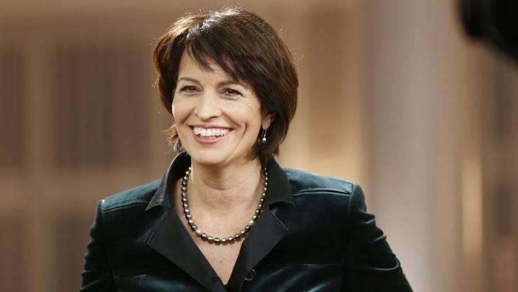 Bundespräsidentin Doris Leuthard hat sich erstmals konkreter zu ihrem Rücktrittszeitpunkt als Bundesrätin geäussert: Spätestens 2019 soll Schluss sein, sagte sie in einem Interview mit dem Westschweizer Fernsehsender RTS. (Archivbild)